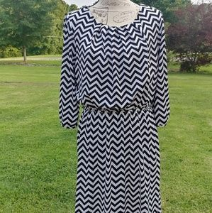 Chevron patterned dress in black and white